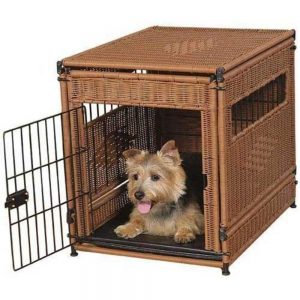 Brown Dog Crate Made Of Wood