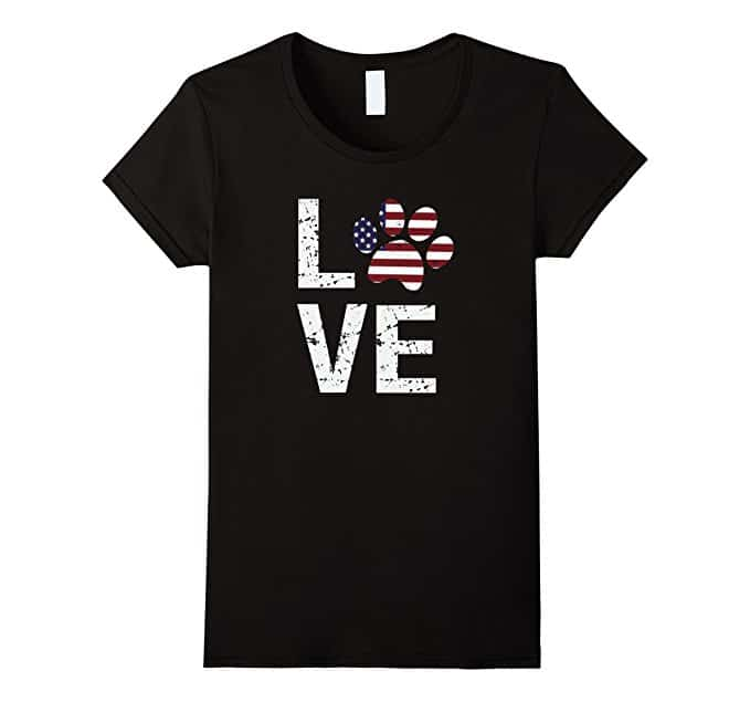Black T-shirt with paw print, US flag, LOVE word