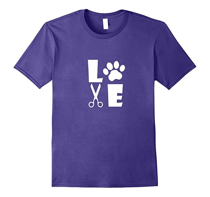 Purple T-shirt with paw print, LOVE word, scissors