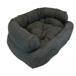 Snoozer Luxury Overstuffed Microsuede Pet Sofa Grey