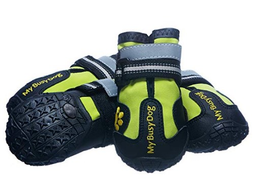My Busy Dog Water Resistant Dog Shoes with Two Reflective Fastening Straps and Rugged Anti-Slip Sole