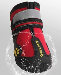 QUMY Dog Boots Waterproof Shoes for Large Dogs with Reflective Velcro Rugged Anti-Slip Sole