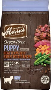 Merrick beef and sweet potato puppy food