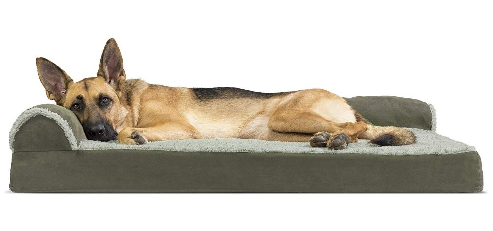 Furhaven Pet Dog Bed L-Shaped Lounge Sofa