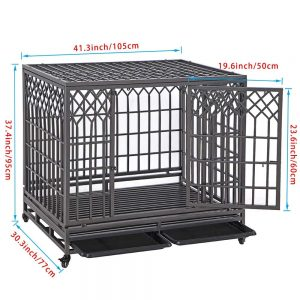 SMONTER Heavy Duty Dog Crate Strong Metal