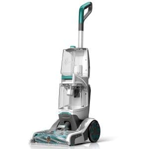 Upright vacuum with teal detailes