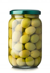 Glass Jar Filled With Green Olives