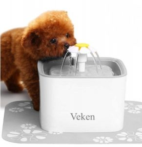Veken Pet Fountain Automatic Dog Water Dispenser with 3 Replacement Filters & Silicone Mat