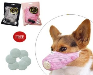 Linkinghome Dog Respirator Muzzle, Dog Protective Muzzle Adjustable Pet Mouth Muzzle Soft Breathable Cotton Dog Muzzle
