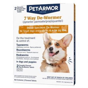 PETARMOR 7 Way De-Wormer (Pyrantel Pamoate and Praziquantel) for Dogs, Includes Chewable Flavored Dog De-Wormer Tablets for Small Dogs and Puppies