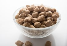 Freeze dried dog food in a bowl