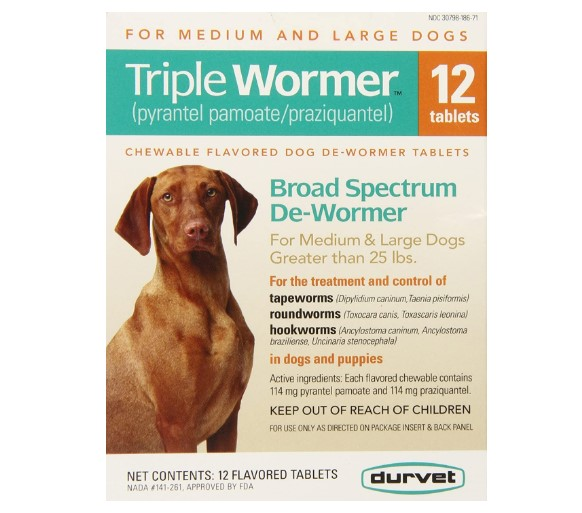 Triple Medium and Large Dog Wormer by Durvet