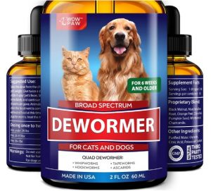 Wowpaw Dewormer for Dogs & Cats (2 OZ) - Made in USA - Worm Treatment for Pets
