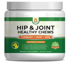 Hip & Joint Supplement for Dogs - Hemp Oil Infused Soft Chews Dog Treats w/Glucosamine, Turmeric, Chondroitin, MSM & Omega 3 6 9