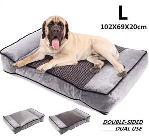 Pecute Large Dog Bed, Warm Plush & Cool Silk Double-Sided Pet Bed