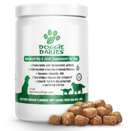 Doggie Dailies Glucosamine for Dogs, 225 Soft Chews, Advanced Hip and Joint Supplement for Dogs