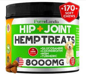 FurroLandia Hemp Hip & Joint Supplement for Dogs - 170 Soft Chews - Made in USA - Glucosamine for Dogs