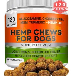 GOODGROWLIES Hemp Hip & Joint Supplement for Dogs Glucosamine, Chondroitin, MSM, Turmeric, Hemp Seed Oil & Hemp Protein for Joint Pain Relief