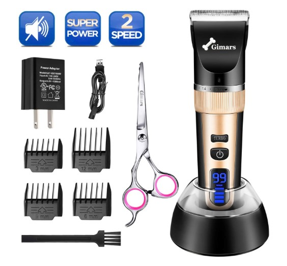Gimars Cordless Dog Clippers, Newest 3.0 Motor Powerful Cutting Smoothly Dog Trimmer Grooming Shaver Kit