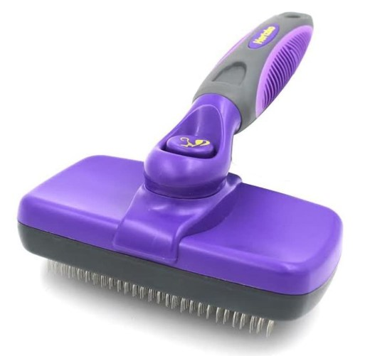 Hertzko Self Cleaning Slicker Brush – Gently Removes Loose Undercoat, Mats and Tangled Hair
