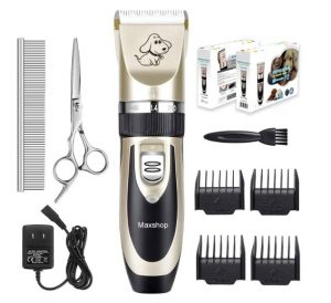 Maxshop Low Noise Rechargeable Dogs Clippers Grooming Trimming Kit