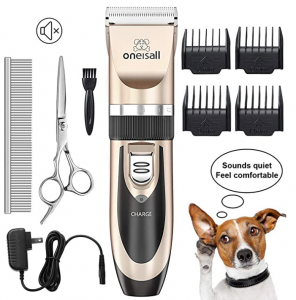 oneisall Dog Shaver Clippers Low Noise Rechargeable Cordless Electric Quiet Hair Clippers