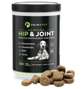 POINTPET Glucosamine for Dogs, Premium Joint Supplement with Chondroitin, MSM, Omega 3, 6, Vitamin C and E, Supports Healthy Joints