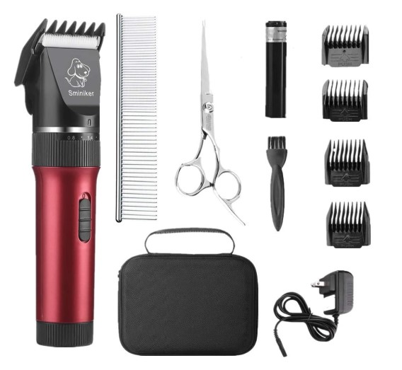 Sminiker Low Noise Cat and Dog Clippers Rechargeable Cordless Pet Clippers Grooming Kit with Storage Bag