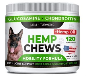 StrellaLab Hemp Treats + Glucosamine for Dogs - Hip & Joint Supplement - w/Hemp Oil + Protein - Chondroitin, MSM, Turmeric