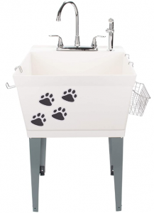 Laundry Sink Utility Tub With High Arc Chrome Faucet With Pet Friendly Accessories