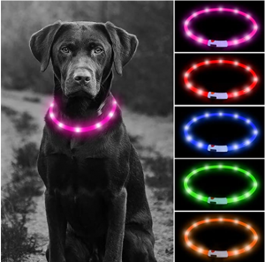 USB Rechargeable LED Dog Collar - Glowing Pet Safety Collar Silicone Cuttable