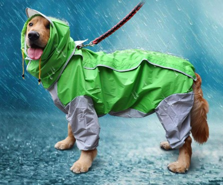 GabeFish 9 Colors Optional, 10 Sizes, Waterproof 4 Legs Pets Raincoat for Small Medium Large Dogs
