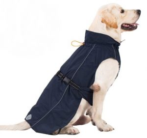 Pro Plums Dog Raincoat Adjustable Lightweight Jacket with Reflective Straps Buckle and Harness Hole