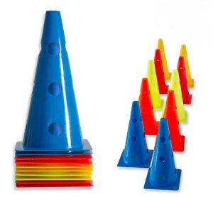 "URAKN SPORTS 2"" 9"" 12"" Inch Plastic Multicolored Cones 6 12 50 Pack Set"